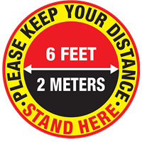 Please Keep Your Distance - Round - in feet & meters