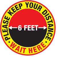 Please Keep Your Distance Wait Here - Round - in feet